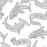 Oceanic animals zentangle seamless pattern. Stock Images