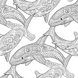 Oceanic animals zentangle seamless pattern. Royalty Free Stock Images