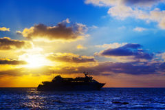 Oceanic cruise ship. At sunset Royalty Free Stock Images