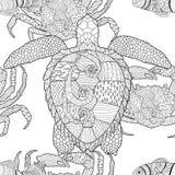 Oceanic dieren zentangle naadloos patroon royalty-vrije illustratie
