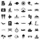 Oceanic geplaatste pictogrammen, eenvoudige stijl vector illustratie