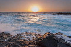 Oceanic sunrise. Sunrise over Atlantic Ocean on Fuerteventura Stock Images