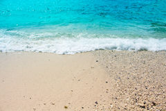 Oceanic view with sand beach and sea wave. Turquoise blue tropical sea lagoon for perfect vacation. Stock Image
