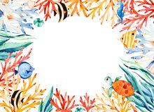 Oceanic watercolor frame border with cute turtle,seaweed,coral reef,fishes,seahorse Stock Images