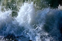 Oceanic waves during storm. water roll forward, boils at shore, force of nature. Tidal bore, pecky sea; surging sea; turbulent sea; ugly sea royalty free stock images