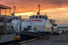 Oceanjet ferry anchorage at ferry passenger terminal at morning time in Cebu City, Philippines. August 2018. Oceanjet ferry anchorage at ferry passenger terminal royalty free stock image