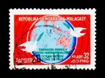 Oceano Índico - zona da paz, serie, cerca de 1976 Imagens de Stock Royalty Free