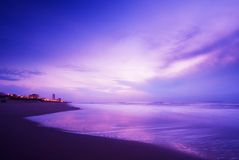 Oceano alla notte fotografia stock libera da diritti