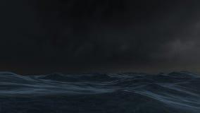 Oceano alla notte Fotografia Stock