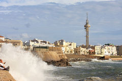 Oceano Atlantico vicino a Cadice, Andalusia, Spagna Fotografia Stock