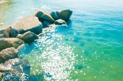 Oceano azul do mar do borrão imagens de stock