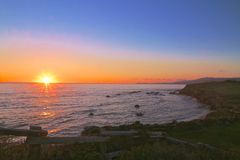 Oceano Califórnia do por do sol Fotografia de Stock Royalty Free