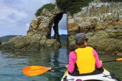 Oceano che kayaking Fotografie Stock Libere da Diritti