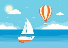 Oceano com barco de Sailng e o balão quente da AR imagens de stock