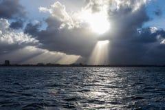 Oceano con sole Fotografia Stock