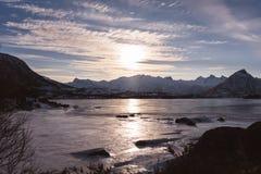 Oceano congelato al Lofoten fotografia stock