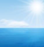 Oceano del blu di calma del paesaggio del mare Immagini Stock