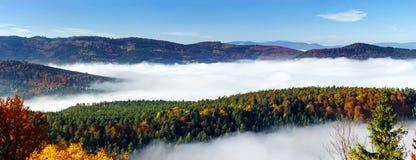 Oceano del movimento della nebbia sotto la macchina fotografica Grande offuscate sopra l'Alsazia Vista panoramica dalla cima dell Fotografia Stock Libera da Diritti