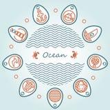 Oceano dell'iscrizione nel cerchio Fotografie Stock