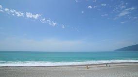 Oceano della spiaggia di marea dell'onda della spiaggia della costa di Mar Nero archivi video