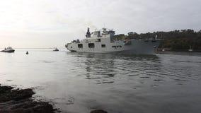 Oceano di Hms, portaerei NAY Battleship reale, Plymouth, Devon stock footage
