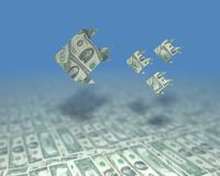 Oceano do dinheiro Fotos de Stock Royalty Free