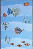 Oceano dos desenhos animados da decoração dos peixes da telha Fotos de Stock Royalty Free
