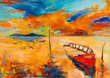 Oceano e barco de pesca Foto de Stock Royalty Free