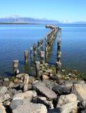 Oceano e pilastro, Cile Immagini Stock