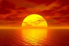 Oceano e por do sol ilustração stock