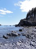 Oceano e Rocky Alaskan Beach Fotografia Stock