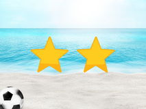 Oceano ensolarado 3D da praia do futebol do futebol Imagens de Stock