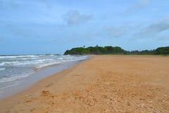 Oceano Indiano con la sabbia dorata, Bentota, Sri Lanka Un paesaggio meraviglioso della natura di una scena della spiaggia Immagini Stock Libere da Diritti