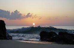 Oceano magico Alba sopra l'Atlantico Mattina Fotografia Stock Libera da Diritti