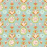 Oceano molle Teal And Orange Vintage Floral illustrazione vettoriale