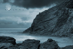 Oceano Moonlit Immagini Stock