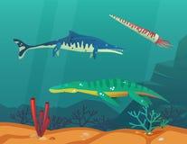 Oceano o mare con i dinosauri o Dino subacquei illustrazione di stock