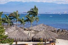 Oceano Pacífico com palapas da palma Fotografia de Stock