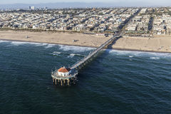 Oceano Pier Aerial di Manhattan Beach California Immagine Stock