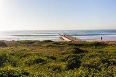 Oceano Pier Horizon Landscape della spiaggia Fotografia Stock Libera da Diritti