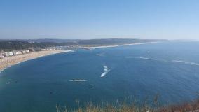 Oceano, praia, Nazaré Fotos de Stock Royalty Free