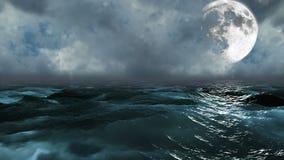 Oceano realístico com lua, fundo abstrato de Loopable
