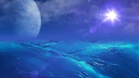 Oceano realistico su Exoplanet, rappresentazione astratta del fondo 3D illustrazione di stock