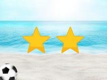 Oceano soleggiato 3D della spiaggia di calcio di calcio Immagini Stock