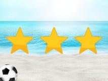 Oceano soleggiato 3D della spiaggia di calcio di calcio Fotografia Stock