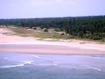Oceano, spiaggia e la vegetazione Fotografia Stock