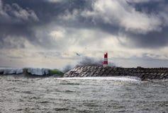 Oceano tormentoso com ondas grandes foto de stock