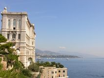 Oceanographic Museum, Monaco. Building by the sea coast Royalty Free Stock Images