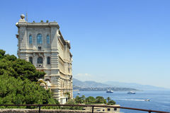 Oceanographic Museum in Monaco. View to the Monaco bay with Oceanographic Museum Royalty Free Stock Images