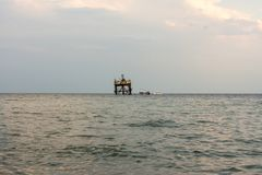 Oceanographic platform in the sea royalty free stock photography